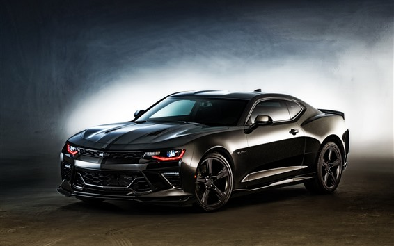 Wallpaper Chevrolet Camaro black car, headlight