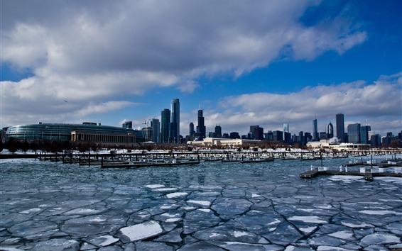 Hintergrundbilder Chicago, Stadt, Wolkenkratzer, Schnee, Eis, Winter, Fluss