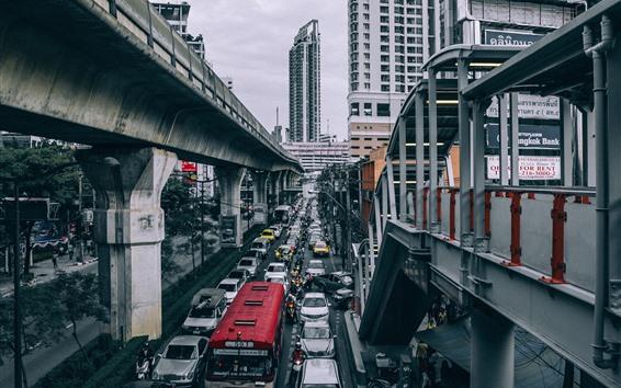 Wallpaper City, road, cars, buildings