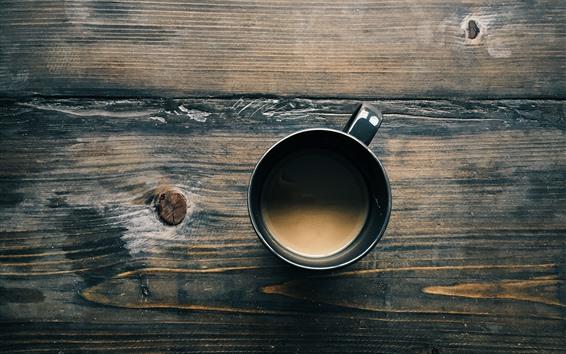 Fond d'écran Vue de dessus de café, tasse, table