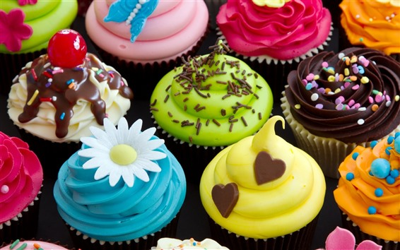 Wallpaper Colorful cupcakes, cream, food