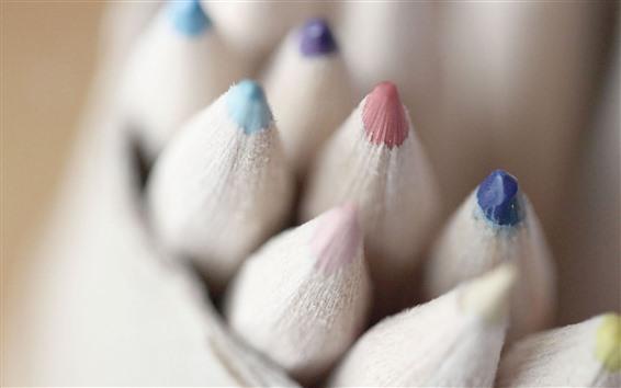 壁紙 クレヨン、カラフルな鉛筆、かすんでいる