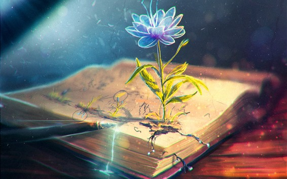 Обои Цветок, книга, ручка, креативный дизайн