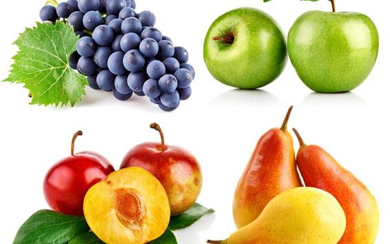 Papéis de Parede Quatro tipos de frutas, uvas, maçãs, ameixas, peras