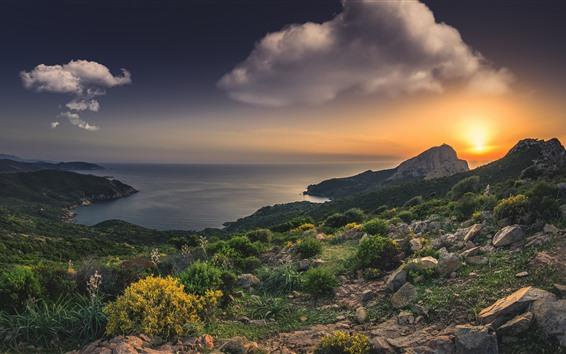 Wallpaper France, Corsica, Mediterranean, sea, beach, rocks, sunset