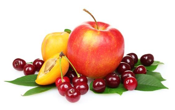 壁紙 果物、さくらんぼ、リンゴ、桃、白い背景