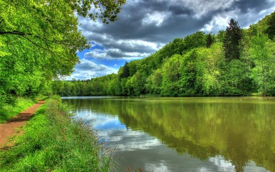 Fond d'écran Allemagne, rivière, arbres, chemin, vert