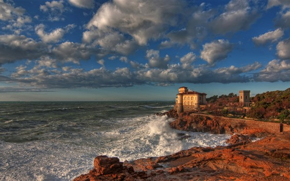 Wallpaper Italy, Boccale Castle, sea, coast, clouds, autumn