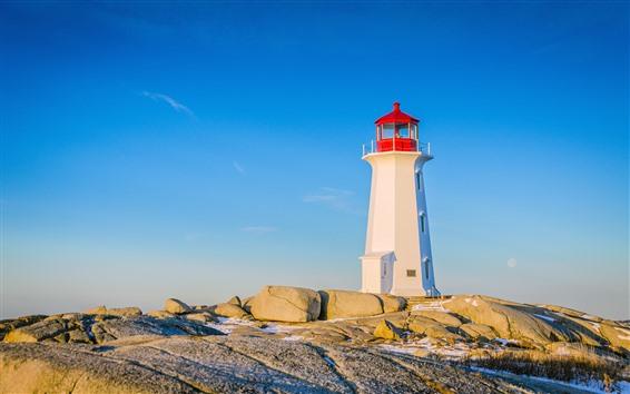 Wallpaper Lighthouse, rocks, blue sky