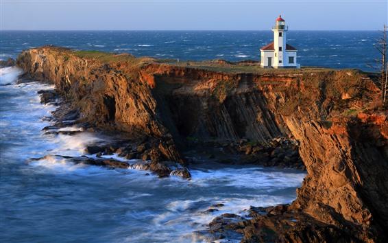 Wallpaper Lighthouse, rocks, sea, cliff