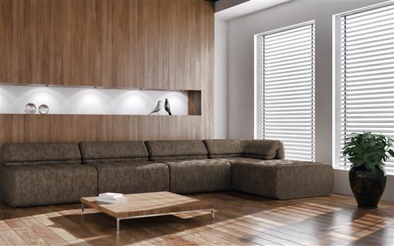 Papéis de Parede Sala de estar, móveis, sofá, janela, raios de luz