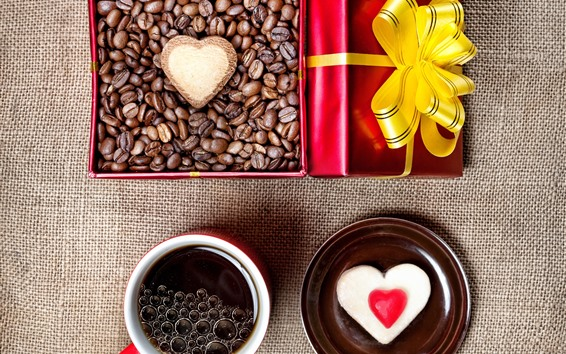 Wallpaper Love heart, coffee, cup, coffee bean, gift, romantic