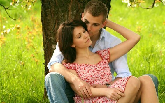 Hintergrundbilder Liebhaber, jung, Baum