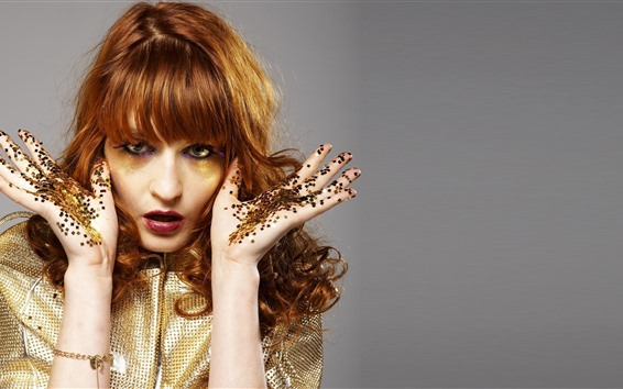 Wallpaper Makeup, girl, glitter, brown hair, hands