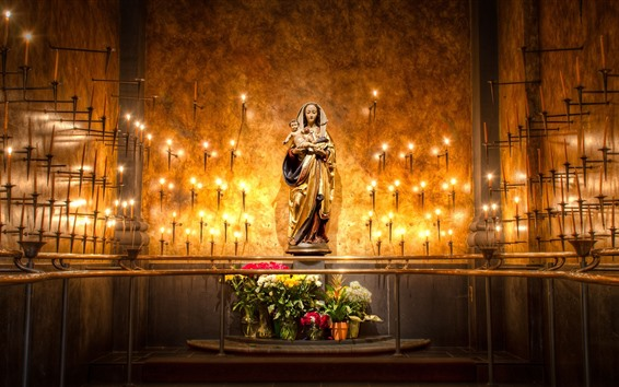 Wallpaper Mary statue, candles, flame