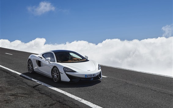 Wallpaper McLaren 570GT white car, clouds, road