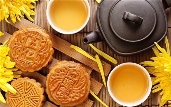 Wallpaper Mooncake, tea, chrysanthemum