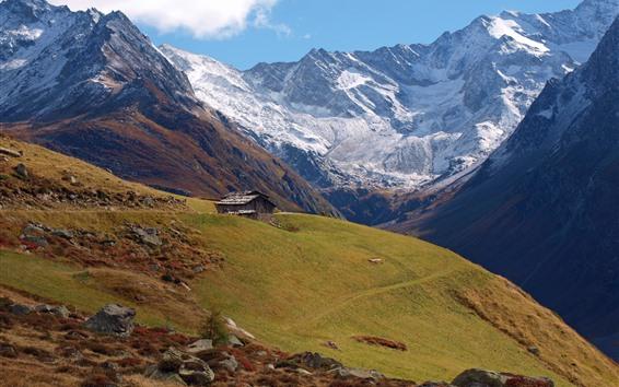 Papéis de Parede Montanhas, pináculo, neve, cabana