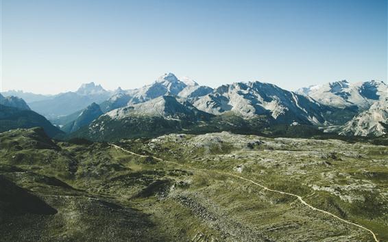 Fond d'écran Montagnes, vue de dessus, route, ciel
