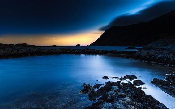 Fond d'écran Nuit, mer, rochers, coucher de soleil, bleu