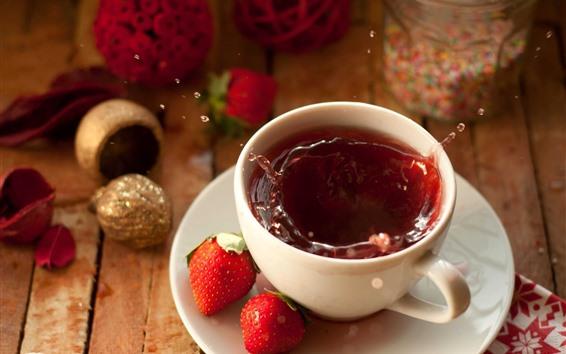 배경 화면 차 한잔, 물 튀김, 딸기