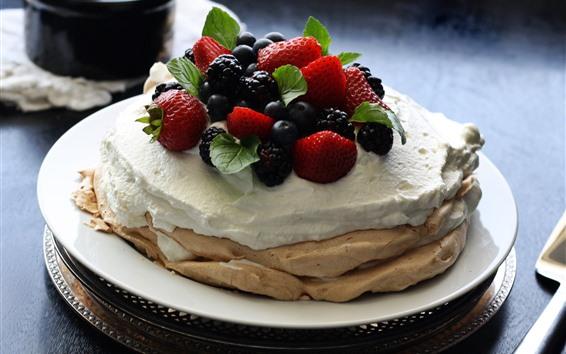 배경 화면 팬케이크, 크림, 딸기, 블랙 베리, 음식