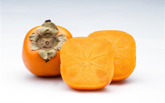Wallpaper Persimmon, cutted fruit, white background