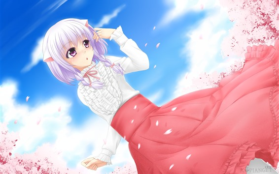 Fond d'écran Fille anime cheveux roses, jupe rouge, sakura