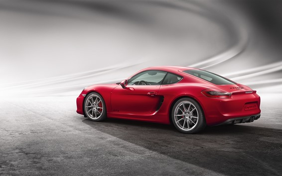 Wallpaper Porsche Cayman GTS red supercar