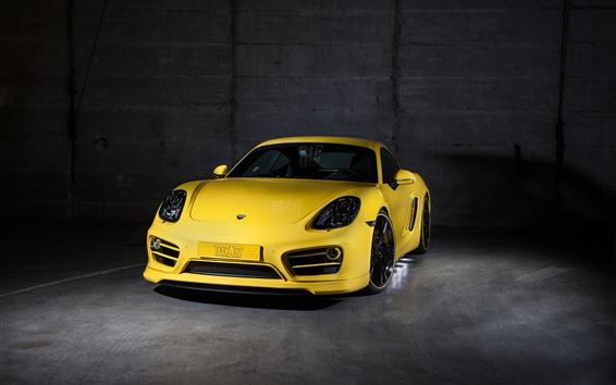 Papéis de Parede Visão frontal do supercarro amarelo da Porsche, carro