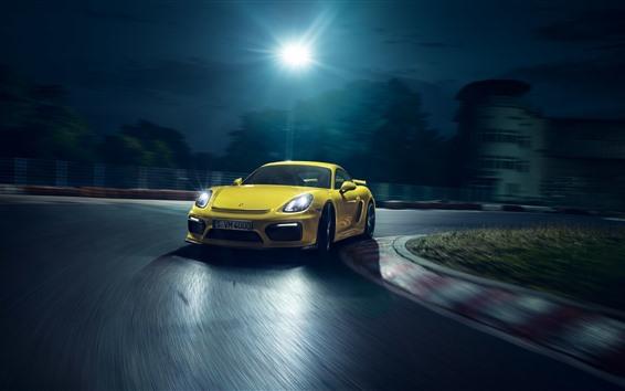 Wallpaper Porsche yellow supercar, speed, night, lights
