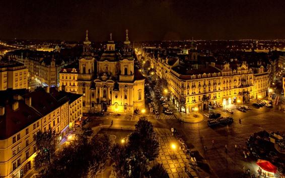 Fond d'écran Prague, République tchèque, ville, nuit, lumières, route
