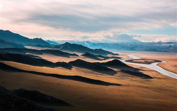 Wallpaper Prairie, river, mountains