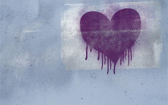 Fond d'écran Coeur d'amour violet, mur, graffiti