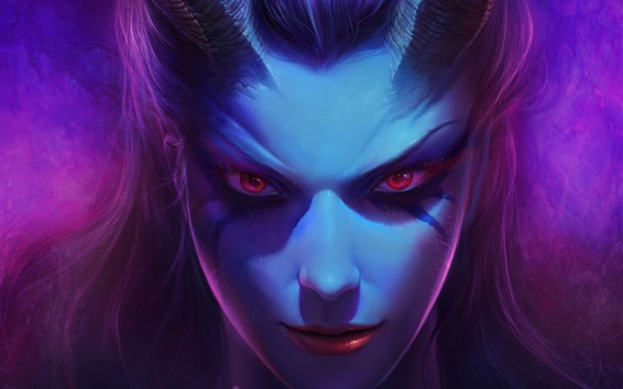 Wallpaper Red eyes fantasy girl, face, horns