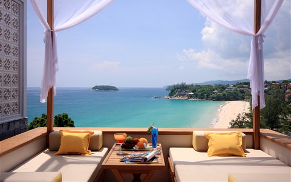 Wallpaper Resort, sofa, fruit, sea, beach, island, tropical