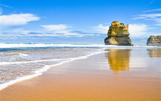 桌布 岩石,大海,沙灘,波浪,藍天,雲