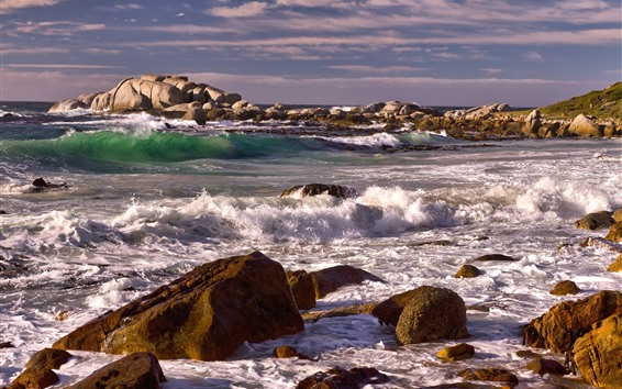 壁紙 岩、石、海、波、泡、海岸