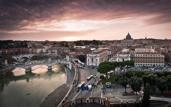 Wallpaper Rome, Italy, houses, street, bridge, river, city