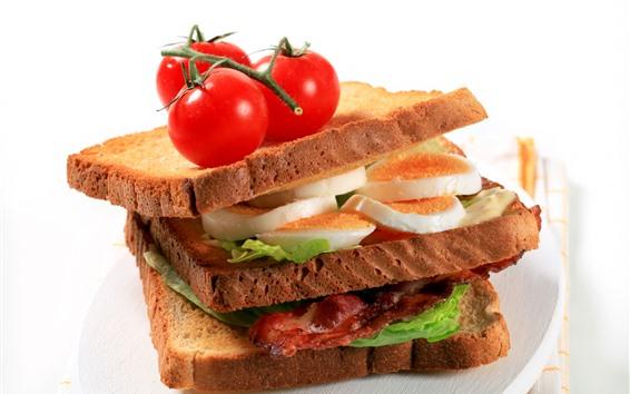 Papéis de Parede Sanduíche, pão, ovo, tomate, fast food