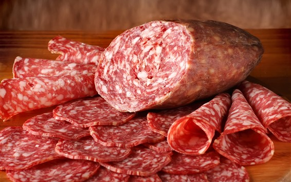 壁紙 スライスしたソーセージ、肉