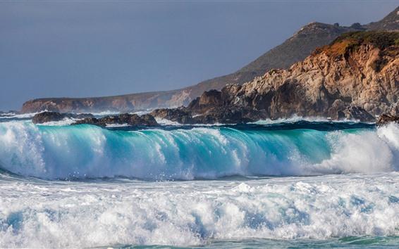 Обои Море, голубая вода, пена, всплеск, берег