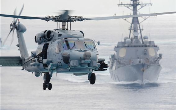 Обои Сихок вертолет, море, корабль