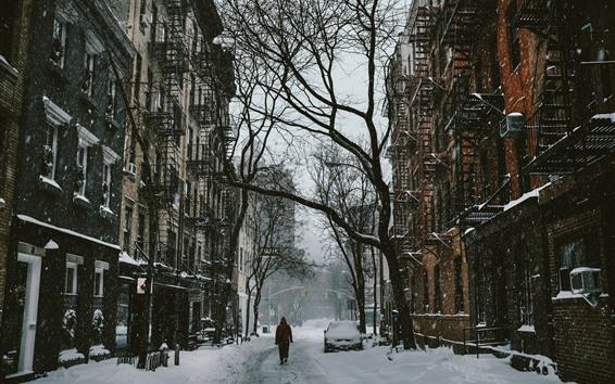 Hintergrundbilder Schnee, Straße, Stadt, Bäume, Winter