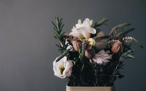 壁紙 いくつかの花、花束、花瓶