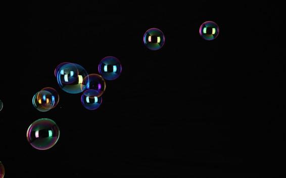Fond d'écran Quelques bulles de savon volant, fond noir