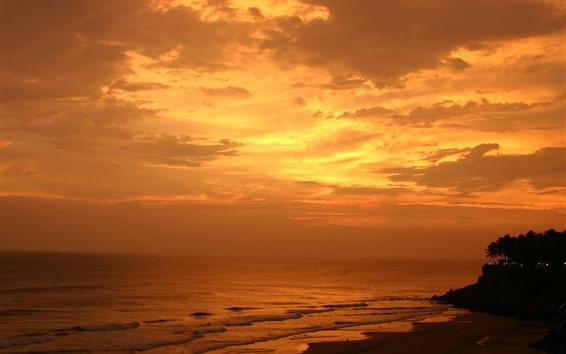 Papéis de Parede Pôr do sol, mar, nuvens, palmeiras, praia, céu laranja