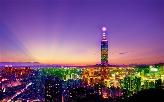 Wallpaper Taiwan, Taipei, city at night, skyscrapers, lights, colorful