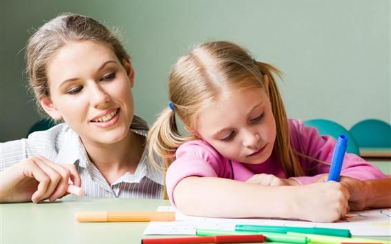 Fond d'écran Enseignant et petite fille, étudiez