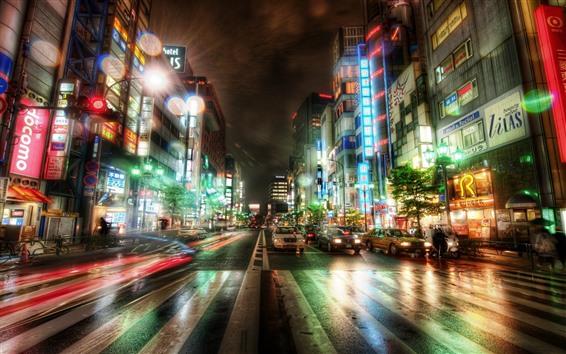 Wallpaper Tokyo, city, night, road, cars, buildings, lights, Japan